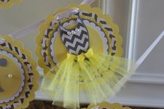 Custom yellow and gray chevron Ties Or by CharmingTouchParties