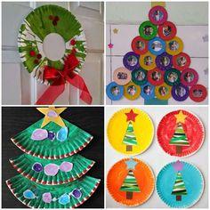 Artesanatos para Natal com Pratos de Papelão Research Projects, Art Projects, Projects To Try, Christmas Art, Xmas, Front Garden Landscape, Paper Flowers, December, Kids Rugs