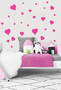 Heart Wall Decals ~Girls Room Stickers (Pink) Pretty Girls Room Ideas -Pink Heart Wall Decor Stickers. Best DIY Girl Room Decor -Very easy to remove or reposition on your wall. #girlsroom #girlsbedroom #valentinesday #hearts #girlswalldecals