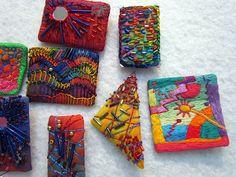 Fiber art pins by Melody Johnson