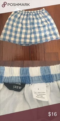 Like New JCrew 100% Cotton Blue Gingham Mini Skirt Excellent condition! No visible issues. J. Crew Skirts Mini
