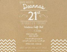 21st Birthday Invitation with Chevron by OlivesCustomDesigns gate fold invitations. Email olivesdesigns2@gmail.com for more information!
