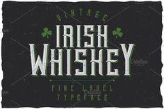 Irish Whiskey Vintage Label Typeface font @creativework247