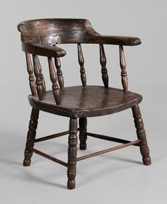 Georgia Historic Confederate Open-Arm  Chair American, mid 19th century, poplar & other mixed woods, spindle back, plank seat & turned legs, traces of original finish. Alexander Hamilton Stephens (1812-1883), Vice-President of the Confederate States of America during the Civil War. He served as U.S. Representative from Georgia before the Civil War & after Reconstruction & as the 50th governor of Georgia (1882-1883)