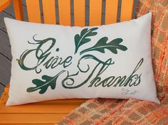 Outdoor pillow GIVE THANKS autumn Thanksgiving fall by crabbychris