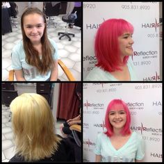 Elyse's big transformation to beautiful pink hair ! Before, during and after ! #hair #hairreflection #pickering #trends #summer #transformation #pinkhair #change #beauty #hairbyvera #hairbyall #olaplex