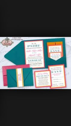 Turquoise orange and pink wedding invites