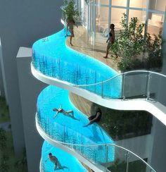 """Mumbai'de yapılacak """"Aquaria Grande"""" gökdeleninde balkon yerine her kata havuz inşa ediecek. 37 katlı gökdelen Hong Kong kökenli mimar James Law ve emlak şirketi Wadhwa Group'un ortak çalışması. 200 daireden oluşacak gökdelende otopark, spor salonu ve sauna da yer alacak. Bazılar için mimarlık harikası olarak görülse de Gizmodo teknoloji blogu bu yapıyı """"mimarlık kabusu"""" olarak değerlendiriyor. Yazar Jesus Diaz bu yapının kazaya davetiye çıkaracağını iddia ediyor..."""