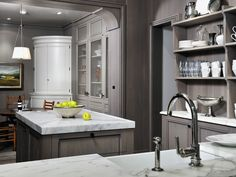 | Grey wash kitchen cabinets with carrera marble counter tops...completely elegant, but a lot of upkeep....