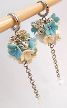 Flower Earrings, Spring Earrings, Light Blue, Dangle Earrings, Long Earrings, Blue Jewelry, Forget Me Not, Flower Jewelry, Gift For Her