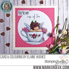 Stamping Bella Edna's Cup of Tea rubber stamp Card. Click through for full details and a colouring video!