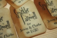 Sparkler Farewell 100 Large Tags Personalize with names by TiaZoey, $22.00