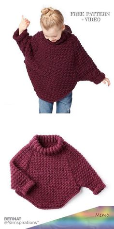 Curvy Crochet Cowl Pullover Sweater Free Crochet Patterns - 6 years kids for kids sweaters Crochet Curvy Crochet Cowl Pullover Sweater Free Crochet Patterns - Video Crochet Girls, Crochet Baby Clothes, Crochet For Kids, Free Crochet, Knit Crochet, Crochet Jumpers, Kids Knitting Patterns, Knitting For Kids, Crochet Patterns