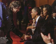 Bob Dylan shaking hands with Barack Obama after performing at the White House. Can't look at this without smiling