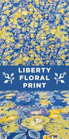 Blue, Yellow, and Purple Liberty of London Floral Cotton Lawn Print #Flowers #Springtime #Casual www.bandjfabrics.com