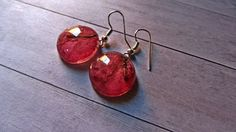 Pretty earrings, Bright Resin cerise jewelry, ruby earrings,  Pressed flower candy jewelry, Juicy jewelry, Eco Jewelry, Pretty gift for her