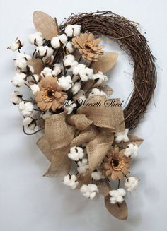 Daisy Cotton Wreath, Cotton Boll Wreath, Natural Cotton Boll, 2nd Anniversary Gift, Southern Cotton, Natural Burlap, Country Primitive Decor