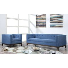TOV Furniture Gavin Blue Linen Sofa