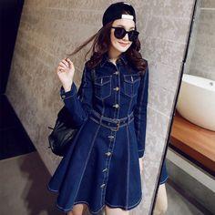 2015 Spring New Ladies Casual Denim Dress Long Sleeve Turn Dwon Collar Jeans Dress Woman Slim One Piece Dress Vestidos Femininos