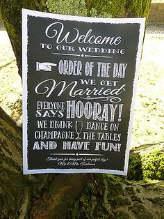 vintage CHALK style Fun WELCOME ORDER OF THE DAY wedding sign print PERSONALISED