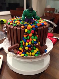 Hulk SMASH birthday cake that I made for my 5 year olds birthday! His dream cake!