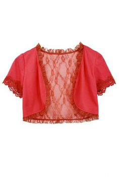 Pink Bolero by British fashion label Traffic People. Traffic People Pink Bolero is made from a fine knit material with an exquisite lace lining and trim. Fashion Labels, British Style, Knitwear, Crop Tops, Knitting, Lace, People, Pink, Women