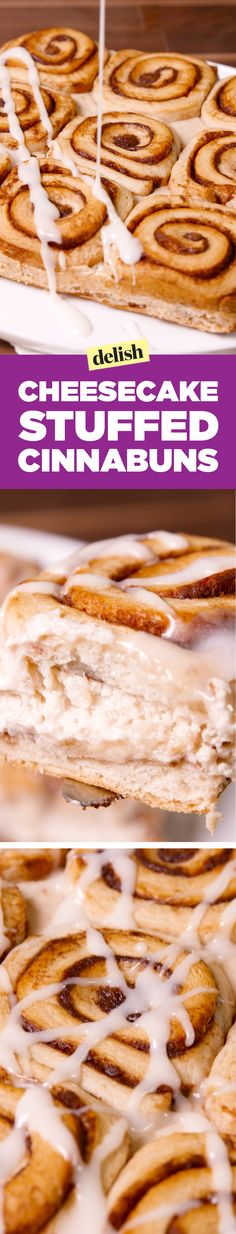 Cheesecake stuffed cinnabuns are a gift from the dessert gods. Get the recipe on Delish.com.
