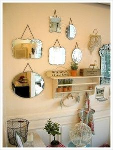 Vintage Mirrors This Is A Great Idea In A Small Space Would Really Brighten Up A Room Vintage Mirror Wall Vintage Mirrors Bathroom Mirrors Diy