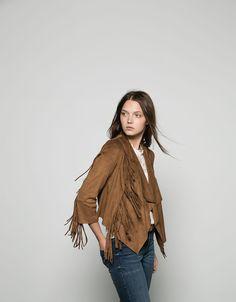 Bershka fringed suede jacket - Coats & Jackets - Bershka United Kingdom