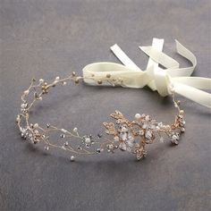 Hand-painted metallic leaves, Swarovski crystal flowers and freshwater pearls are entwined with wire creating a breathtaking gold bridal headpiece. The flexible vine tiara headband has of delicate floral sprigs and double ribbons on each side. Wedding Headband, Headband Hair, Bridal Headbands, Tiara Hair, Bridal Crown, Bridal Rings, Hair Comb, Vintage Wedding Hair, Gold Wedding