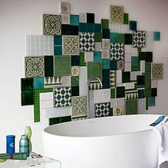 patchwork wall decoration made of white and green bathroom tiles is one of modern interior design trends Mosaic Bathroom, Mosaic Tiles, Bathroom Wall, Tile Art, Mosaic Backsplash, Bathroom Ideas, Kitchen Backsplash, Bathroom Green, Quirky Bathroom