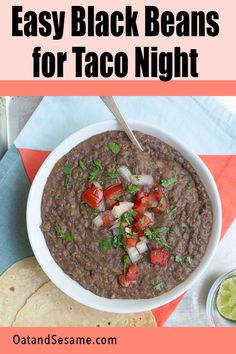 These easy black beans are the best for taco night! Simple   flavorful, serve them up as a black bean dip, on nachos, and in tacos, quesadillas, enchiladas. #TACOTUESDAY | #BLACKBEANDIP | #HEALTHYSNACKS | #HEALTHYRECIPES at OatandSesame.com #oatandsesame Vegan Lunches, Healthy Snacks, Delicious Vegan Recipes, Healthy Recipes, Black Bean Dip, Black Bean Recipes, Mexican Food Recipes, Ethnic Recipes, Fresh Salsa