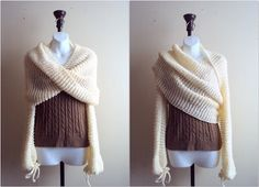 Knit Sweater Shrug Set Tube Scarf Cowl Bolero Capelet Wrap Cover Up Hoodie Poncho Sweater Knit Top