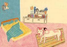 Maria J. Luque - en tu casa hay un león. marcadores y grafito s/ papel. (In your house is a lion. Markers and graphite on paper,  2012.)
