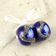 Dark Blue Handmade Lampwork Glass Bead Pair by SpawnOfFlame
