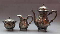 680e  Exklusives massives Kaffeeservice 800er Silber Jugendstil Hanau J.L. Schlingloff Sugar Bowl, Bowl Set, Tea Pots, Ebay, Tableware, Macedonia, Plant Parts, Art Nouveau, Kaffee