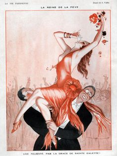 Vallee, Armand (b,1884)- Carried Woman Drinking Champagne- 'La Vie Parisienne'