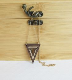 Wooden & Gold Inlay Triangle Necklace, Gold Triangle Pendant, Layering Necklace, Gold and Wood Necklace, Handmade Wooden Jewelry,Mixed Media by giveitengraved on Etsy