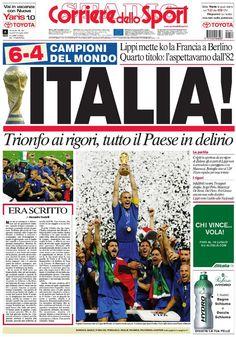 Campioni! Campioni! Campioni! Campioni! Gli azzurri di Lippi conquistano la quarta Coppa del Mondo superando nella finale di Berlino la Francia ai calci di rigore. Ed è delirio!
