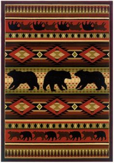Native Bear Area Rug in Terracotta ft. 6 in. L x 7 ft. 10 in. W), Terracotta Terracotta, Inexpensive Rugs, Bear Rug, Rug Runners, 4 Runner, Thing 1, Just Dream, Rustic Rugs, Rustic Decor