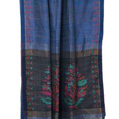 Karomi Chambray Blue Amrapali Jamdani Handwoven Silk Sari 10000470 - pallu closeup - AVISHYA.COM