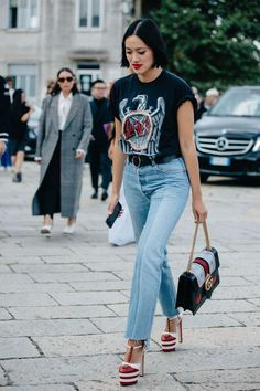 Street style at Fashion Week Spring-Summer 2017 Milan Grunge Look, Grunge Style, 90s Grunge, Soft Grunge, Love Fashion, Autumn Fashion, Fashion Looks, Fashion Outfits, Fashion Trends