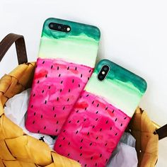 Summer Watermelon Phone Case For iphone X Case For iphone 6 7 8 Plus Funny Cartoon Back Cover Luxury Soft IMD Cases Iphone 6, Iphone Cases, Cell Phone Covers, Watermelon, Cartoon, Luxury, Funny, Summer, Delivery