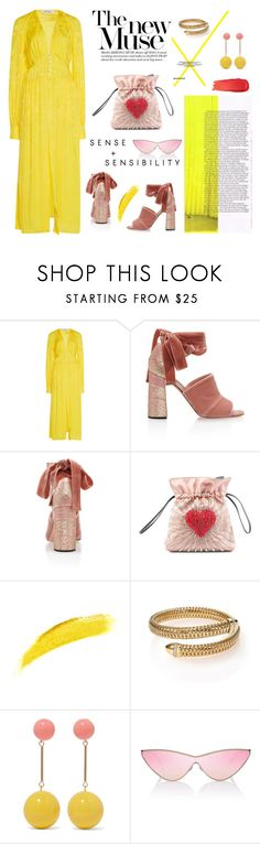 """Yellow Dress"" by erindream ❤ liked on Polyvore featuring Attico, Rochas, Les Petits Joueurs, NARS Cosmetics, Roberto Coin, J.W. Anderson, Le Specs and Bobbi Brown Cosmetics"