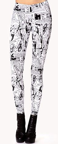 Marvel Comic Leggings I LOVE THIS!! You could wear ANY solid color with these!! I must find a pair!!