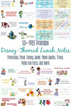 Disney-Themed Lunch Notes