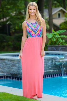 Spirit of The Sun Maxi Dress-Coral - New Arrivals | The Red Dress Boutique