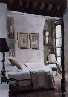 "Daily Paintworks - ""Paris Bedroom"" - Original Fine Art for Sale - © David Lloyd Parisian Bedroom, Bedroom Romantic, Bedroom Lighting, Light Bedroom, Room Paint, Interior And Exterior, Interior Design, Decoration, Fine Art Prints"