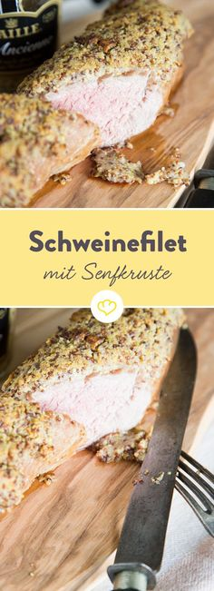 Unter der feinen Kruste aus Senf, Paniermehl und Estragon verbirgt sich ein saftiges Schweinefilet, das dir das Wasser im Mund zusammenlaufen lässt.
