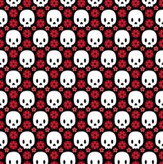 Skulls and red flowers fabric by petitspixels on Spoonflower - custom fabric